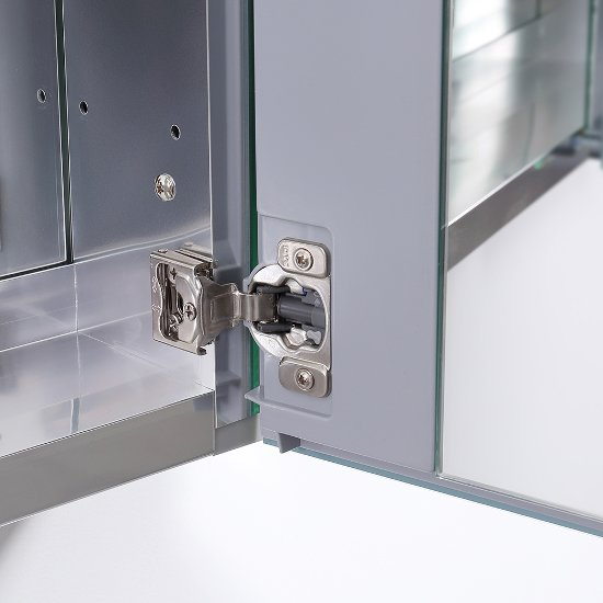 60 Wide X 36 Tall Anodized Aluminum Bathroom Medicine Cabinet W Mirrors 3 Mirrored Doors