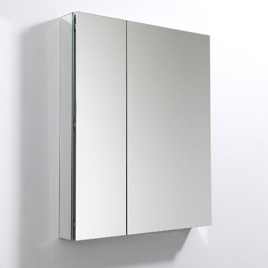 "Fresca 30"" Wide x 36"" Tall Bathroom Medicine Cabinet w/ Mirrors (2 Mirrored Doors), 29-1/2"" W x 5"" D x 36"" H"