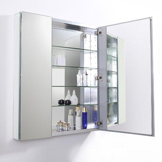 30'' Wide x 36'' Tall Anodized Aluminum Bathroom Medicine ...