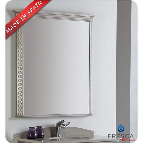 "Fresca Platinum London 32"" Antique Silver Wall Mounted Framed Bathroom Mirror, Dimensions of Mirror: 32-45/64"" W x 37"" H"