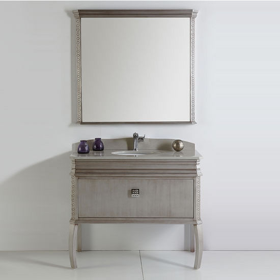 Platinum London 40 39 39 Antique Silver Bathroom Vanity W Swarovski Handles Set By Fresca