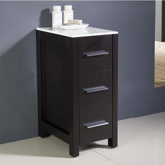 Espresso Freestanding Linen Side Cabinet