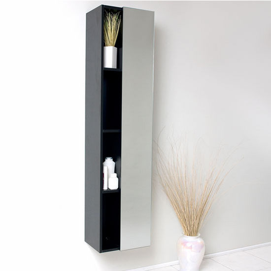 "Fresca Senza Black Wall Mounted Bathroom Linen Side Cabinet with 4 Cubby Holes and Mirror, Dimensions: 15-3/4"" W x 12"" D x 67"" H"