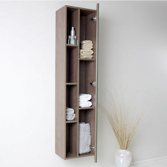 Senza Wall Mounted Bathroom Linen Side Cabinet W 4 Cubby