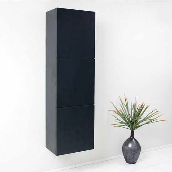 """Fresca Senza Black Wall Mounted Bathroom Linen Side Cabinet with 3 Large Storage Areas, Dimensions: 17-3/4"""" W x 12"""" D x 59"""" H"""