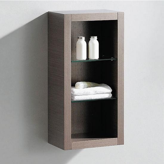 "Fresca Allier Gray Oak Wall Mounted Bathroom Linen Side Cabinet with 2 Glass Shelves, Dimensions: 15-3/4"" W x 10"" D x 32"" H"