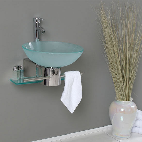 Cristallino Wall Mounted Bathroom Vanity W Frosted Vessel Sink - Bathroom sink set up