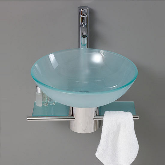 Cristallino 18 Wall Mounted Bathroom Vanity W Frosted Vessel Sink