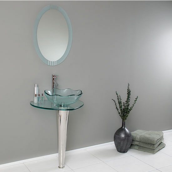 "Fresca Netto 24"" Modern Glass Bathroom Vanity with Wavy Edge Vessel Sink, Dimensions of Vanity: 24"" W x 20"" D x 34-3/8"" H"