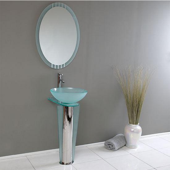 "Fresca Vitale 17"" Modern Glass Bathroom Vanity with Mirror, Dimensions of Vanity: 16-1/2"" W x 20-3/8"" D x 34-3/8"" H"