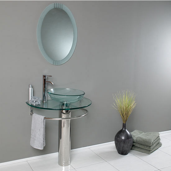 "Fresca Attrazione 30"" Modern Glass Bathroom Vanity with Frosted Edge Mirror, Dimensions of Vanity: 29-3/4"" W x 18-1/4"" D x 34-1/4"" H"