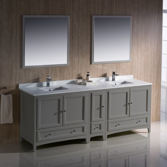 "84"" Gray Double Sink Vanity Set with Mirror"
