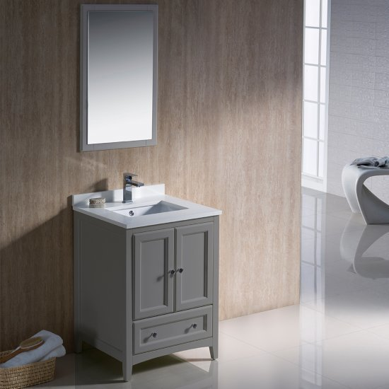 "24"" Gray Vanity Set with Mirror"