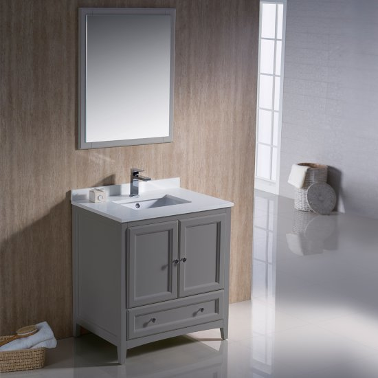 "30"" Gray Vanity Set with Mirror"