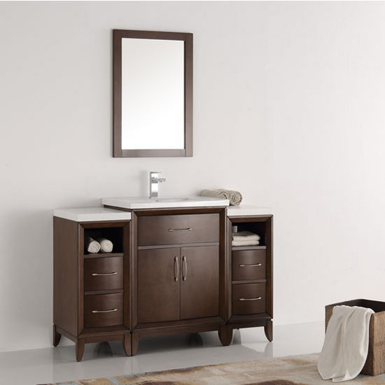 "Fresca Cambridge 48"" Antique Coffee Traditional Bathroom Vanity with Mirror, Dimensions of Vanity: 48"" W x 18-5/16"" D x 33-2/5"" H"