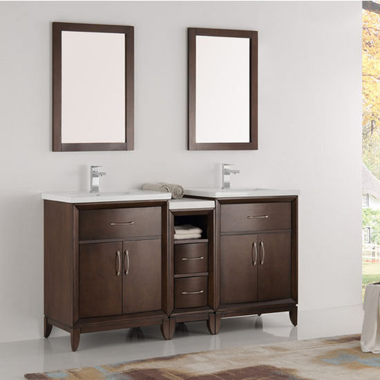 """Fresca Cambridge 60"""" Antique Coffee Double Sink Traditional Bathroom Vanity with Mirrors, Dimensions of Vanity: 60"""" W x 18-5/16"""" D x 33-2/5"""" H"""