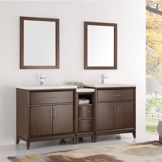 "Fresca Cambridge 72"" Antique Coffee Double Sink Traditional Bathroom Vanity with Mirrors, Dimensions of Vanity: 72"" W x 18-5/16"" D x 33-2/5"" H"