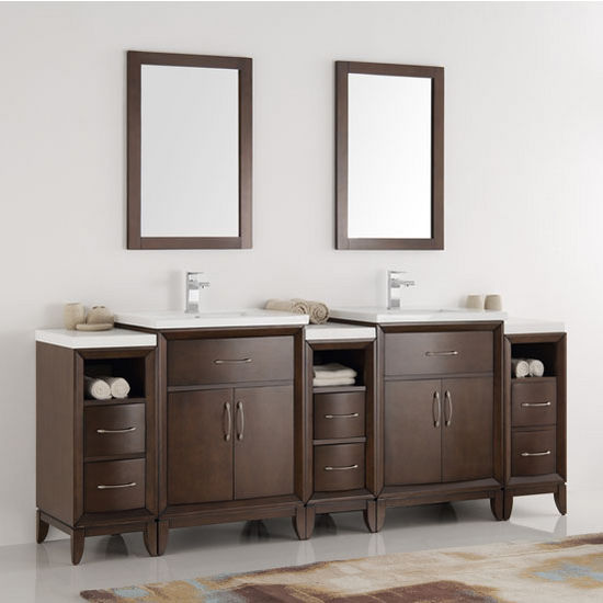 Cambridge Double Sink Traditional Bathroom Vanity W Mirrors - 84 bathroom vanities and cabinets
