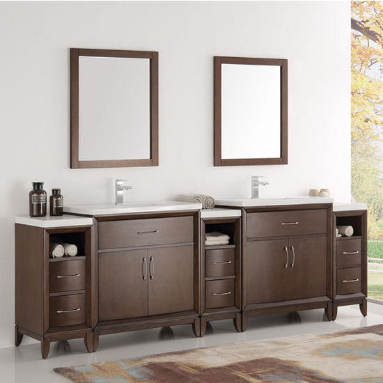 "Fresca Cambridge 96"" Antique Coffee Double Sink Traditional Bathroom Vanity with Mirrors, Dimensions of Vanity: 96"" W x 18-5/16"" D x 33-2/5"" H"
