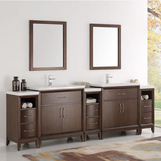 Cambridge 96 39 39 Double Sink Traditional Bathroom Vanity W Mirrors Set By Fresca