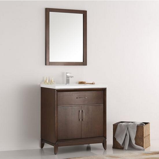 "Fresca Cambridge 30"" Antique Coffee Traditional Bathroom Vanity with Mirror, Dimensions of Vanity: 30"" W x 18-5/16"" D x 33-2/5"" H"