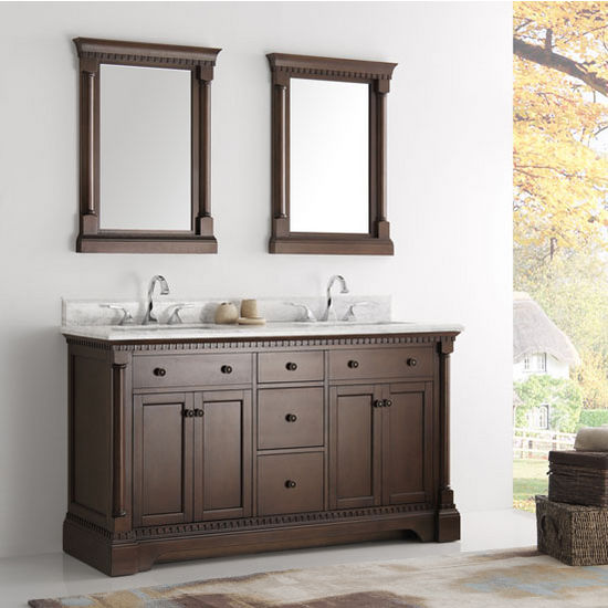 "Fresca Kingston 60"" Antique Coffee Double Sink Traditional Bathroom Vanity with Mirrors, Dimensions of Vanity: 61"" W x 22"" D x 38"" H"