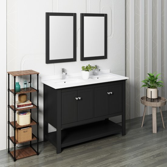 "Fresca Manchester 48"" Black Traditional Double Sink Bathroom Vanity Set w/ Mirrors, Vanity: 48"" W x 20-2/5"" D x 34-4/5"" H"