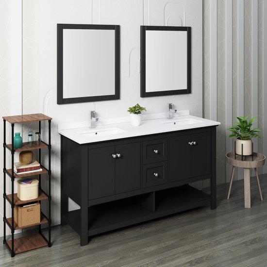 "Fresca Manchester 60"" Black Traditional Double Sink Bathroom Vanity Set w/ Mirrors, Vanity: 60"" W x 20-2/5"" D x 34-4/5"" H"