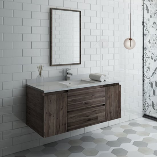 "Fresca Formosa 48"" Wall Hung Modern Bathroom Vanity Set w/ Mirror, Base Cabinet: 48"" W x 20-3/8"" D x 20-5/16"" H"