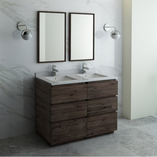 "Fresca Formosa 48"" Floor Standing Double Sink Modern Bathroom Vanity Set w/ Mirrors, Base Cabinet: 48"" W x 20-3/8"" D x 34-7/8"" H"