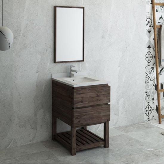 "Fresca Formosa 24"" Floor Standing Modern Bathroom Vanity Set w/ Open Bottom & Mirror, Base Cabinet: 24"" W x 20-3/8"" D x 34-7/8"" H"