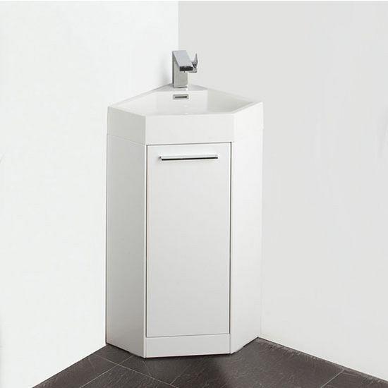 . Coda 14   White Modern Corner Bathroom Vanity Set by Fresca