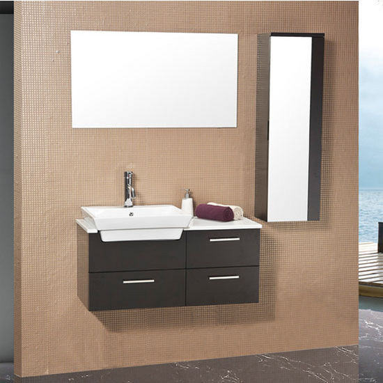 Bathroom Vanities 36 X 19 caro 36'' modern wall mounted bathroom vanity w/ mirrored side