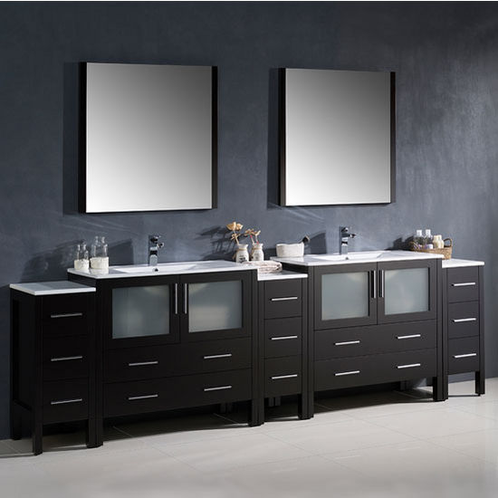 """Fresca Torino 108"""" Espresso Modern Double Sink Bathroom Vanity with 3 Side Cabinets and Integrated Sinks, Dimensions of Vanity: 108"""" W x 18-1/8"""" D x 33-3/4"""" H"""