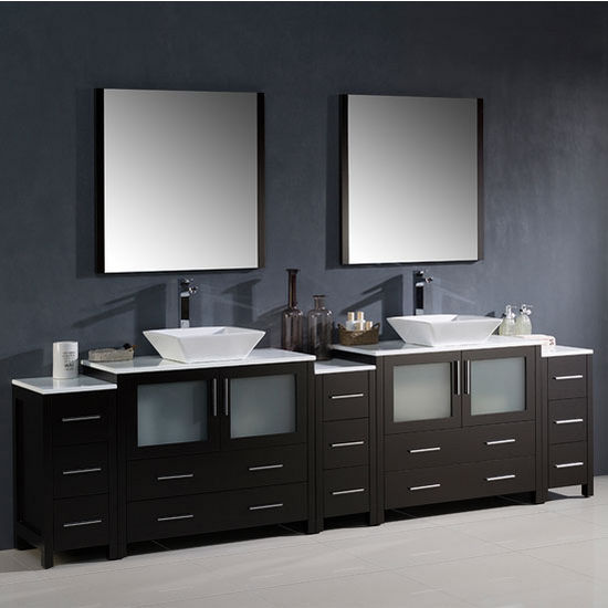"Fresca Torino 108"" Espresso Modern Double Sink Bathroom Vanity with 3 Side Cabinets and Vessel Sinks, Dimensions of Vanity: 108"" W x 18-1/8"" D x 35-5/8"" H"