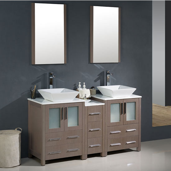 Torino 60 Modern Double Sink Bathroom Vanity w Vessel Sinks Set