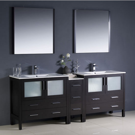 "Fresca Torino 84"" Espresso Modern Double Sink Bathroom Vanity with Side Cabinet and Integrated Sinks, Dimensions of Vanity: 83-1/2"" W x 18-1/8"" D x 33-3/4"" H"