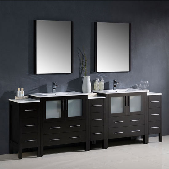 Torino Modern Double Sink Bathroom Vanity W Integrated Sinks - Modern double sink bathroom vanity cabinets