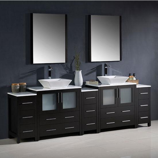 Torino 96 39 39 modern double sink bathroom vanity w vessel for 96 bathroom cabinets