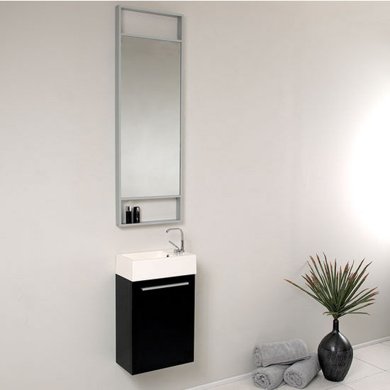 Pulito 16 Small Modern Wall Mounted Bathroom Vanity W Tall Mirror