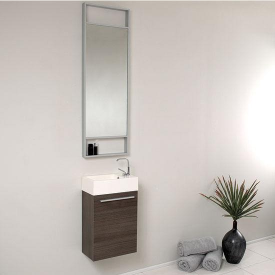 Gray Oak Vanity Set w/ Mirror