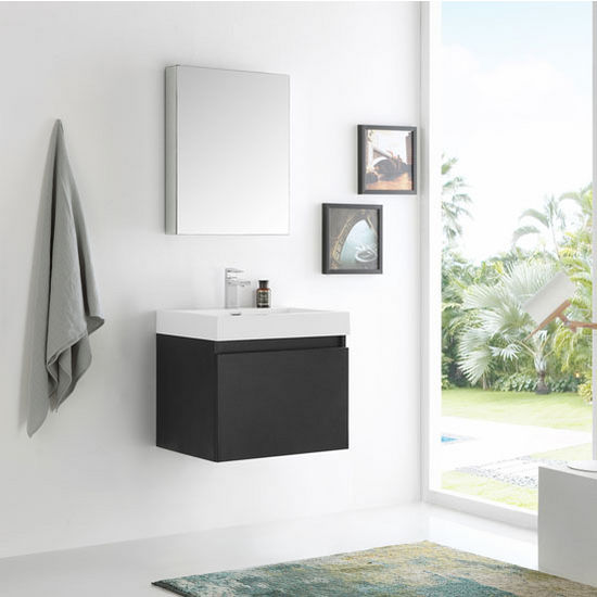 "24"" Black Vanity Set w/ Medicine Cabinet"
