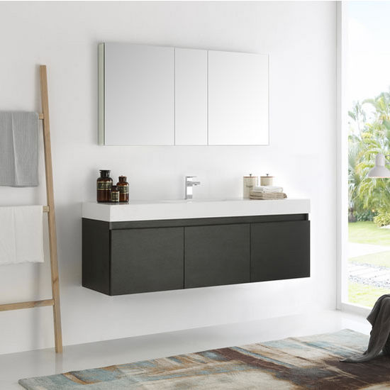 Mezzo 60 Wall Hung Single Sink Modern Bathroom Vanity w Medicine