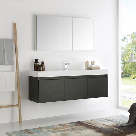 "Fresca Mezzo 60"" Black Wall Hung Single Sink Modern Bathroom Vanity with Medicine Cabinet, Dimensions of Vanity: 59"" W x 18-29/32"" D x 21-3/5"" H"