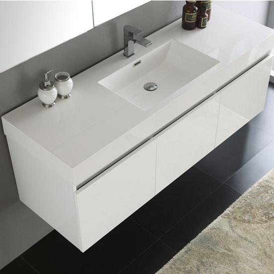 Mezzo 60 Wall Hung Single Sink Modern Bathroom Vanity W
