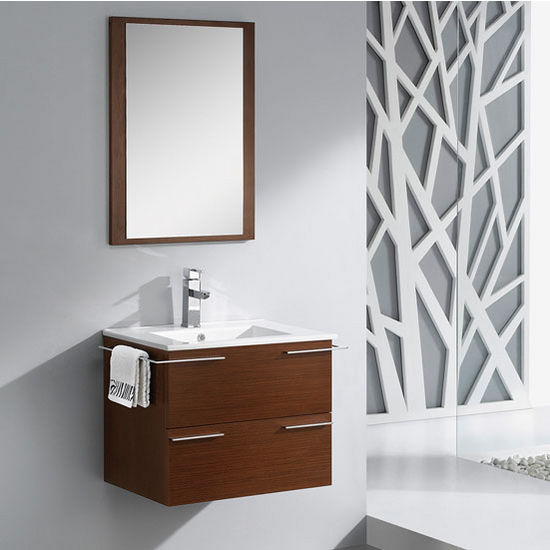 "Fresca Cielo 24"" Wenge Brown Modern Wall Mounted Bathroom Vanity with Mirror, Dimensions of Vanity: 27-1/2"" W x 18-1/2"" D x 20"" H"