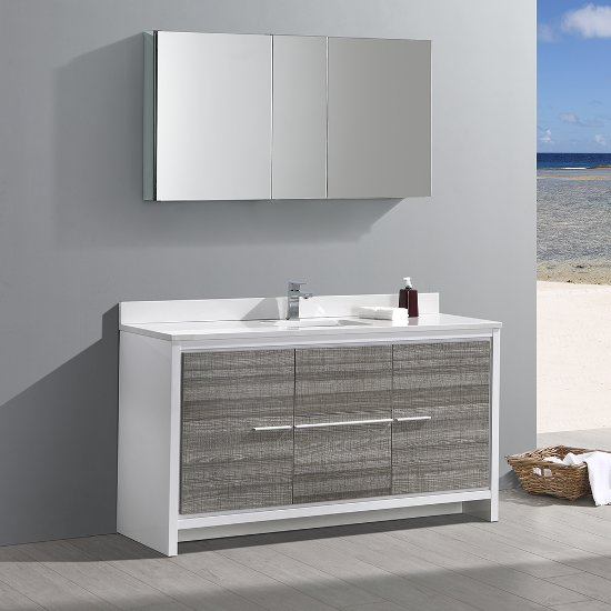 Modern single sink bathroom vanities Vanity Wall Mount Allier 60 Ash Gray Gray Oak Wenge Or White Modern Single Sink Bathroom Vanity W Mirror Set By Fresca Kitchensourcecom Kitchensourcecom Allier 60 Ash Gray Gray Oak Wenge Or White Modern Single Sink