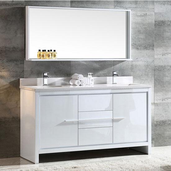 Allier 60 Modern Double Sink Bathroom Vanity W Mirror Set By