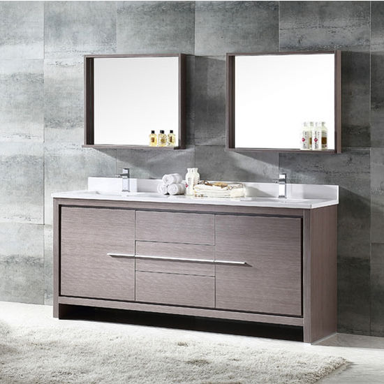 "Fresca Allier 72"" Gray Oak Modern Double Sink Bathroom Vanity with Mirror, Dimensions of Vanity: 72"" W x 21-1/2"" D x 33-1/2"" H"