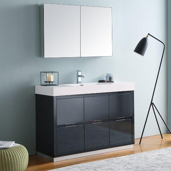 Fresca Valencia 48 Dark Slate Gray Free Standing Modern Bathroom Vanity W Cine Cabinet